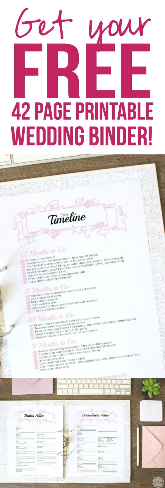 I am getting married soon and I totally need this! A free 42 page wedding binder? Yes please! I'm grabbing mine now! Click through to read more and grab your FREE printables! @HappilyEverAEtc