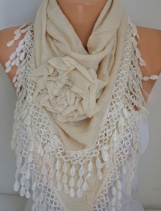 Ivory Knitted Floral Scarf Shawl Cowl Lace Bridesmaid by fatwoman