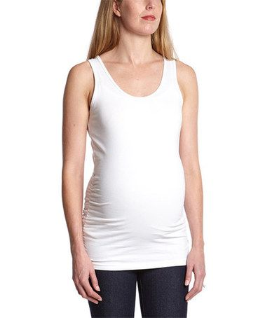 Look what I found on #zulily! White Ruched Maternity Tank - Plus Too #zulilyfinds