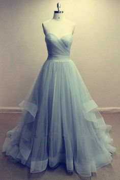 Long Tulle Prom Dress I love this style of dress. It may be the style I want for a wedding someday.