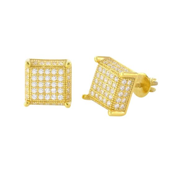 Screwback Earrings Sterling Silver Yellow Gold 9mm Square 3d 2 Row CZ Sidestones