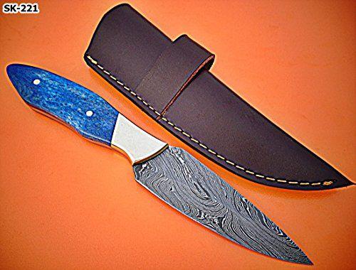 SK-221 B, Custom Handmade Damascus Steel Skinner Knife - Stained Bone Handle with Brass Bolster