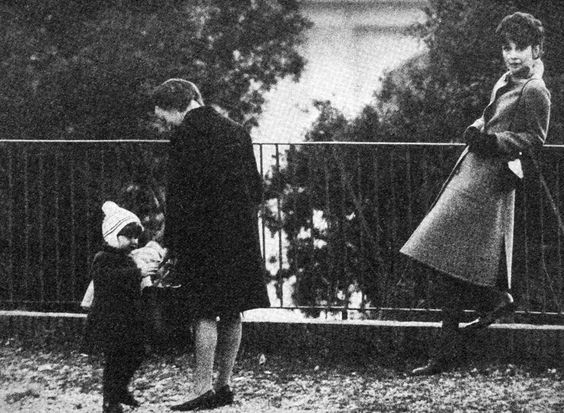 Audrey with her son Luca and the nanny at a park in Rome, February 1972.