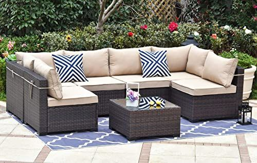 Amazing Offer On Gotland Outdoor Patio Furniture Set 7 Pieces Sectional Rattan Sofa Set Manual Wicker Patio Conversation Set A Tempered Class Table 6 Seat Cus In 2020 Outdoor Patio Furniture