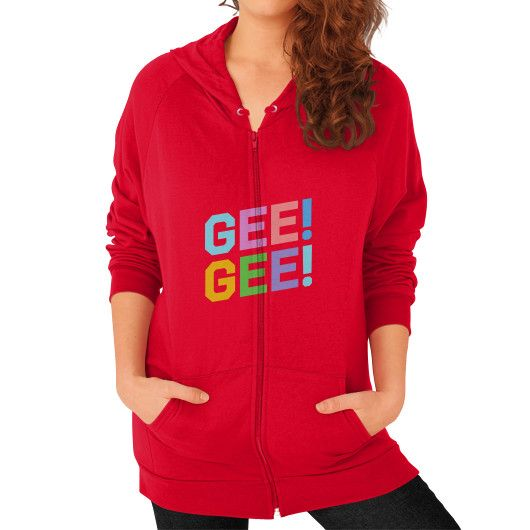 GEE! GEE! Merchandise Full Release Zip Hoodie (on woman) Shirt