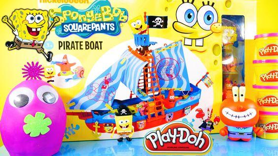 Spongebob Squarepants Pirate Ship Simba Toys Surprise Play Doh Egg By Di...