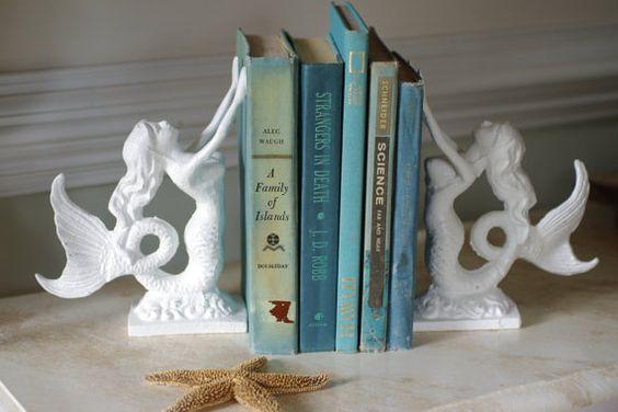 "Beautiful Beach Decor Cast Iron Mermaid Bookend, ""ByTheSeashoreDecor"" (Etsy). Love these! Elegant.:"