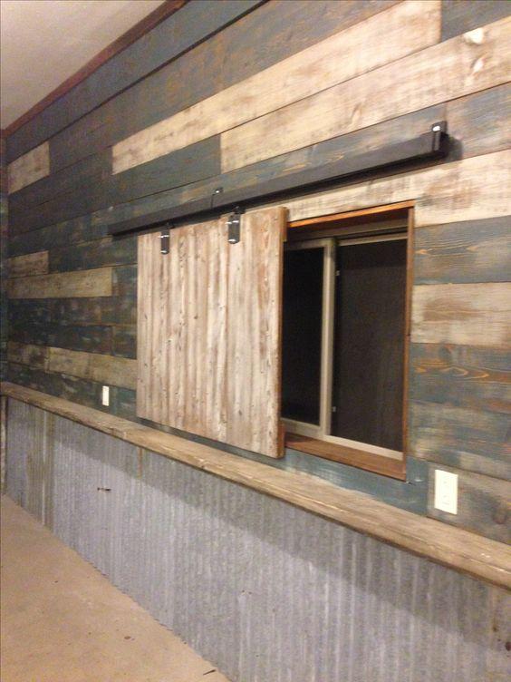 My Garage Man Cave Used Reclaimed Barn Wood And Door