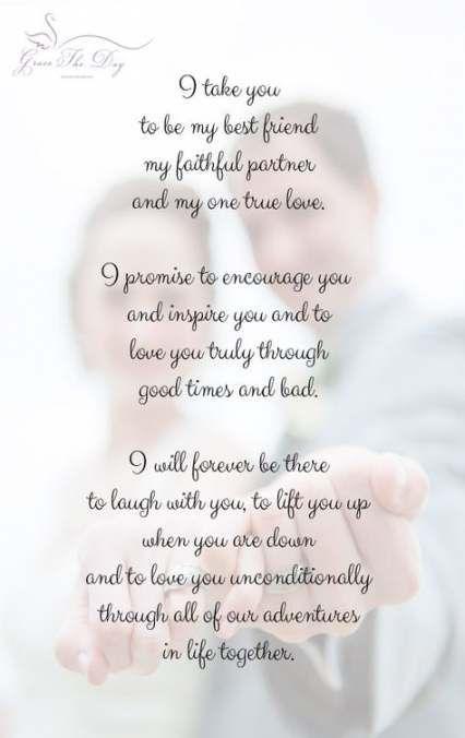 38 Ideas Wedding Vows I Promise Marriage Wedding Vows To Husband Wedding Poems Wedding Vows