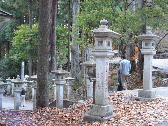Mitsumine shrine , lanterns