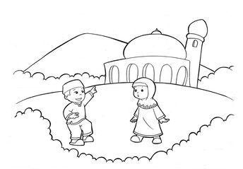 Gambar Untuk Mewarnai Anak Muslim Dengan Gambar Buku Mewarnai