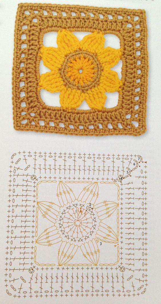 Square crochet flower pattern: