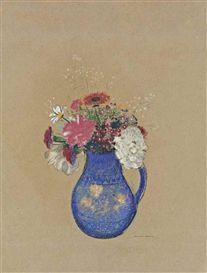 Artwork by Odilon Redon, Fleurs dans un vase,  Dimensions:  23.62 X 17.62 in (60.01 X 44.77 cm) Medium:  pastel on toned paper Signed