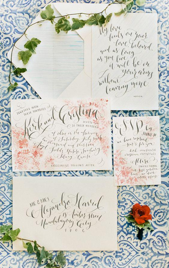 Watercolor & Calligraphy invitation suite