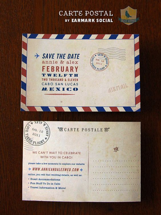 Carte Postale Save the Date | Vintage Airmail | Earmark Social