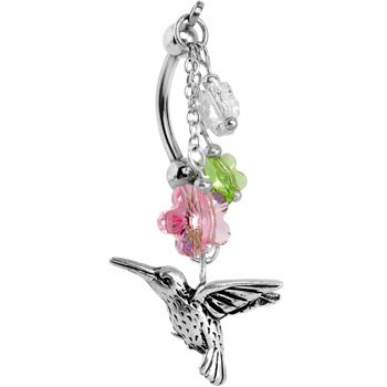 Handcrafted Hummingbird Flower Double Mount Belly Ring MADE WITH SWAROVSKI ELEMENTS #piercing #bellyring #bodycandy