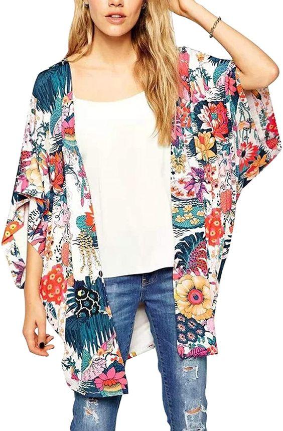Hibluco Women's Sheer Chiffon Floral Kimono Cardigan Long Blouse Loose Tops Outwear (XX-Large, K 4) at Amazon Women's Clothing store