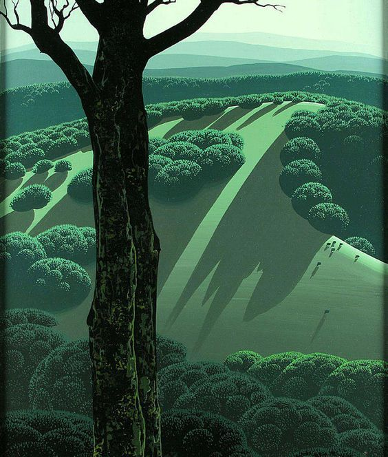 sleeping beauty background art, eyvind earle, find it hard to believe these designs are over 50 years old, they are so graphic, stylised modern they almost seem computer generated: