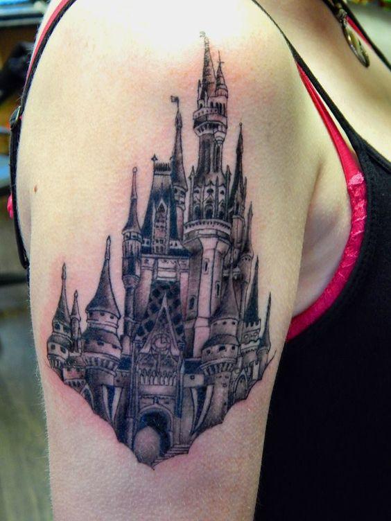 disney tattoo cinderella 39 s castle magic kingdom in black and white for more disney facts. Black Bedroom Furniture Sets. Home Design Ideas