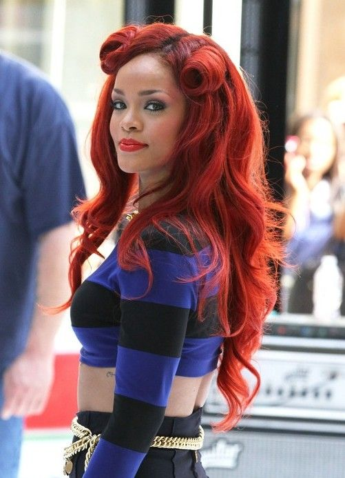 new hair style color rihanna half up half curly hairstyle 8917