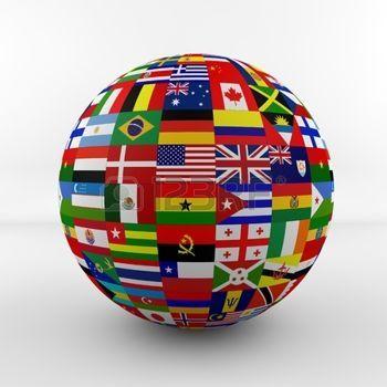 trotamundos: La bandera del globo con las banderas de los diferentes países: