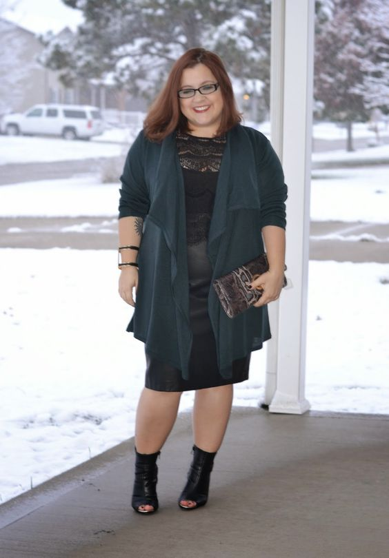 curvy and petite style, fashion, faux leather skirt, leather ...