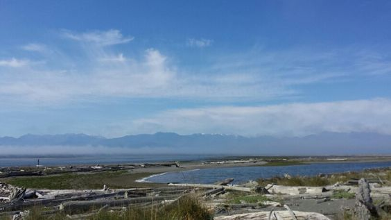 Looking across the Dungeness Spit bay and wildlife preserve and beyond yo Sequim Wa.