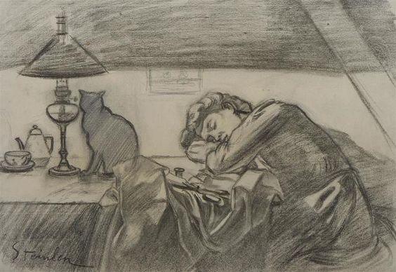 Théophile-Alexandre STEINLEN (1859-1923) Couturière endormie avec