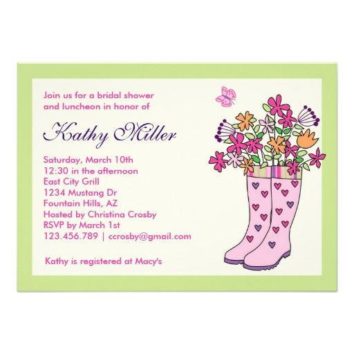 Rain Boots Bridal Shower Invitation