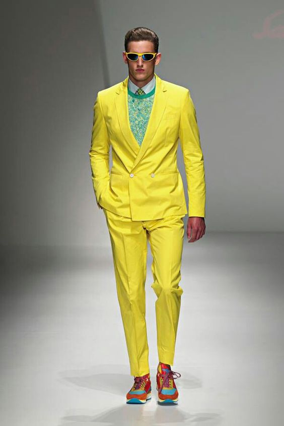 Yellow neon suit colorful shoes. That is bright! #dancemile