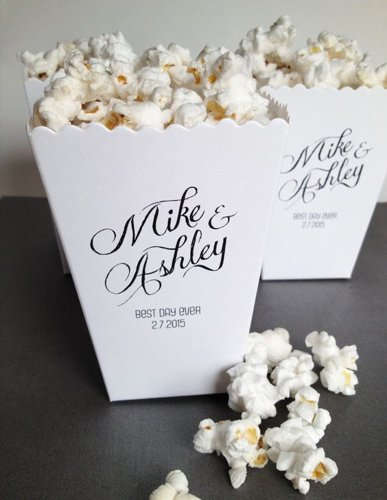 Popcorn Box Wedding Favor Custom Printed Mini Popcorn Box