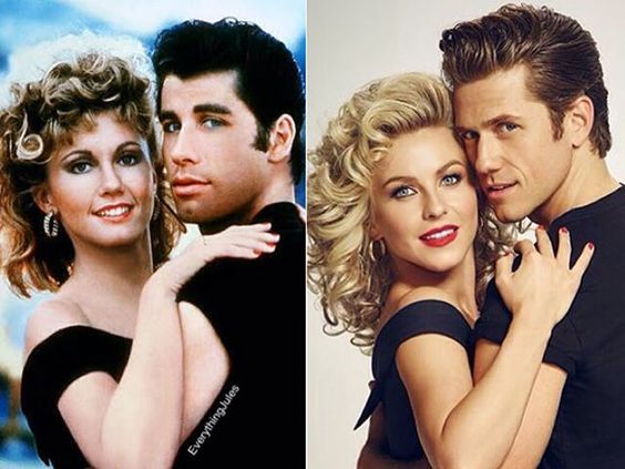 Sandy and Danny from Grease (1978) and Grease Live! (2016) ❤️ I think @juleshough and @aarontveit are the perfect cast for this. It will be amazing. I can't wait!  #juliannehough #greaselive