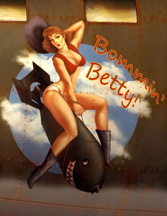 """Bommin' Betty"" an homage to Dr. Strangelove #noseart #aviation:"