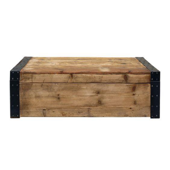 table basse coffre en orme et pin recycl s interiors. Black Bedroom Furniture Sets. Home Design Ideas