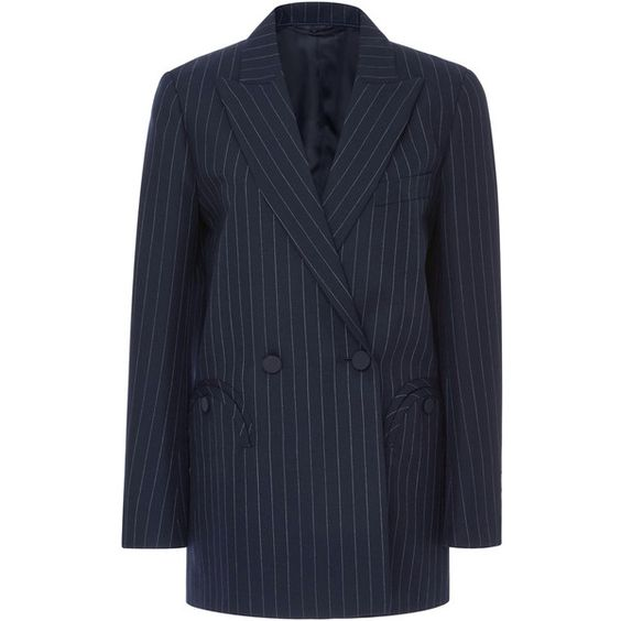 Blazé Milano Double Breasted Pinstripe Blazer (80.185 RUB) ❤ liked on Polyvore featuring outerwear, jackets, blazers, navy, wool jacket, navy wool blazer, navy blazer, navy pinstripe blazer and navy blue blazer