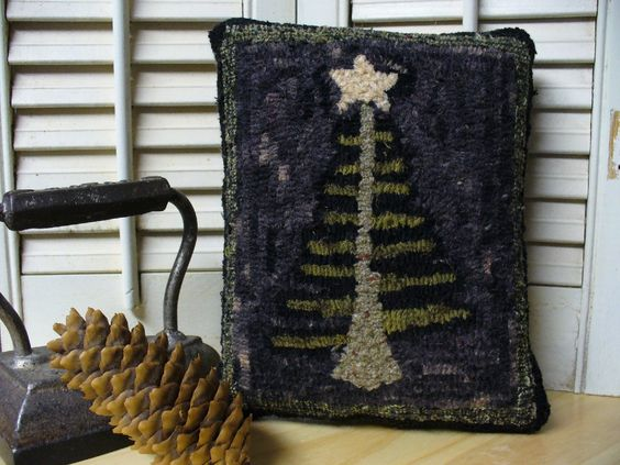 Small Rug Hooked Primitive Feather Tree Pillow