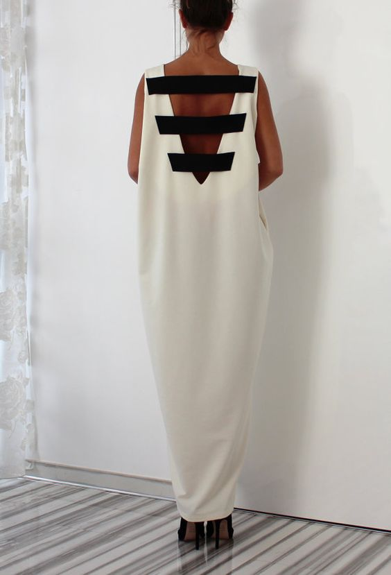 Off white Backless Dress Maxi Dress Caftan by cherryblossomsdress