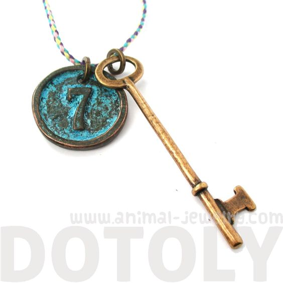Long Skeleton Key and Round Number 7 Room Number Enamel Pendant Necklace on Brass $10 #keys #lucky #necklaces #jewelry #pendants
