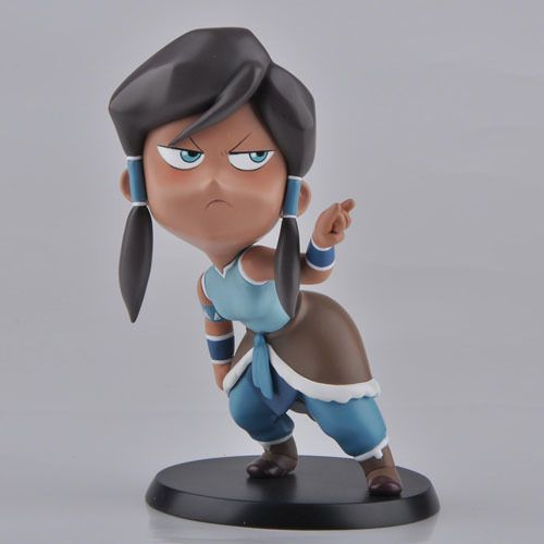 "A cute and stylized version of Avatar Korra in her infamous ""I got my eyes on you"" pose. Made of PVC, and standing at approx. 5"" with stand."