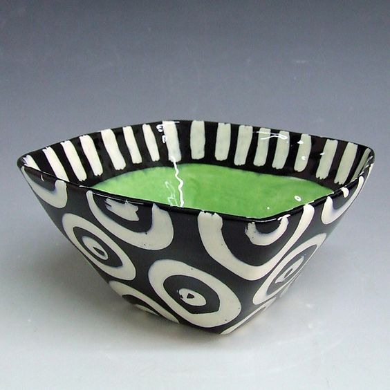 Funky green black and white serving bowl everyday for Bowl painting ideas