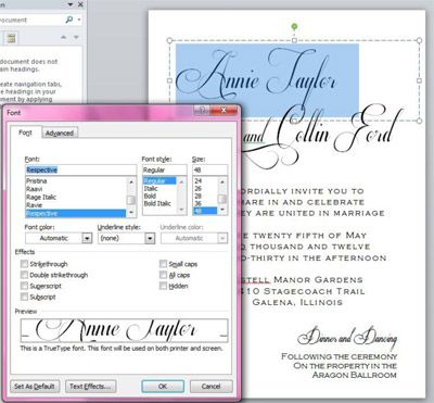 Create professional looking and elegant calligraphy invitations – Creating an Invitation in Word
