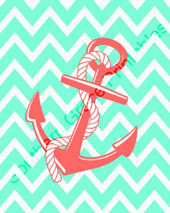 Mint And Coral Chevron Background Anchor w/Chevron Backg...