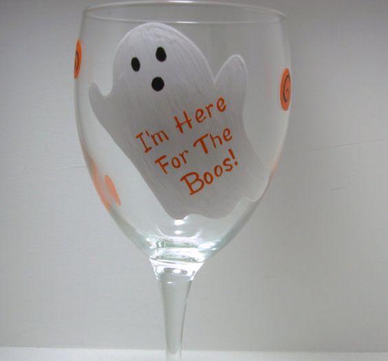 Handpainted Ghost Halloween Wine Glass