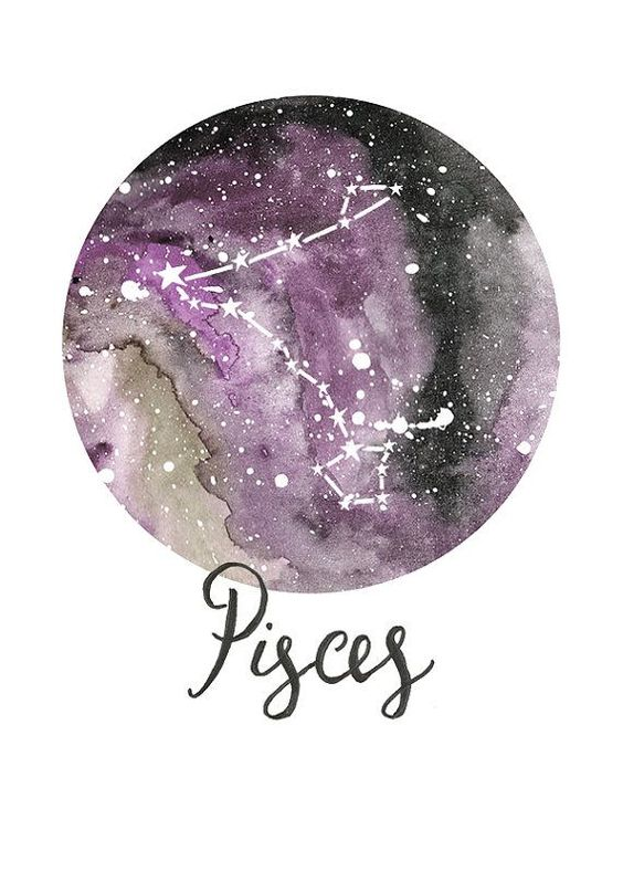 Pisces Zodiac Constellations Archival Art by sarahfrancesart