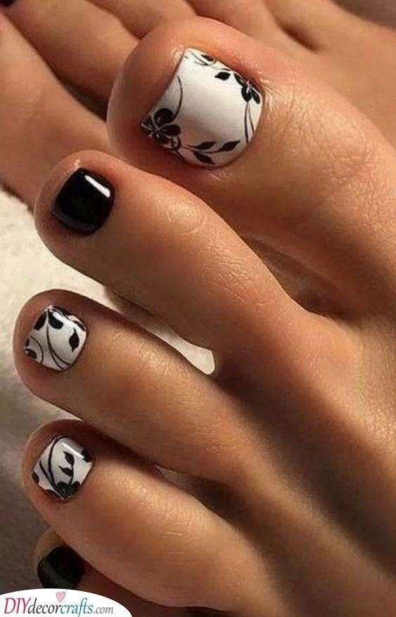 Modern In Monochrome Flowers And Leaves In 2020 Simple Toe Nails Cute Toe Nails Easy Toe Nail Designs