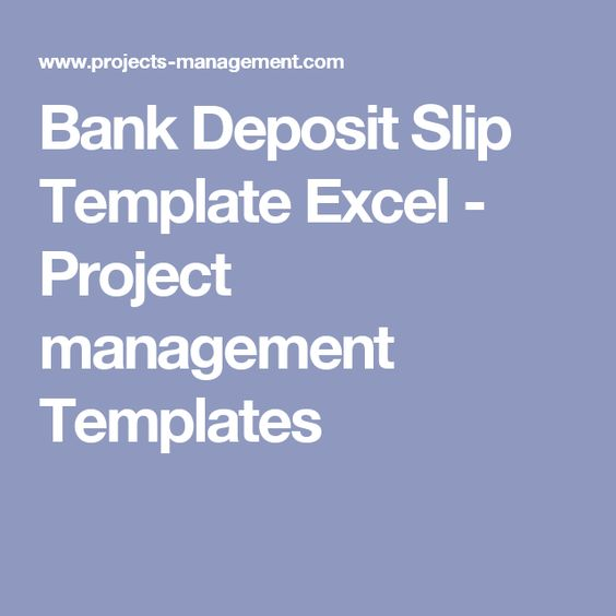 Bank Deposit Slip Template Excel  Project Management Templates