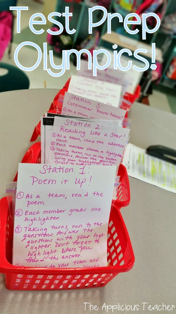 "Test prep Olympics. Love this idea! Fun and active way to get kids ready for that ""big test!"""
