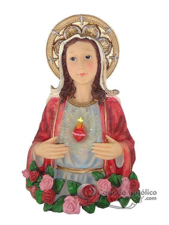 IMAGEM - SAGRADO CORAÇÃO DE MARIA - COM LUZ - IMPORTADA - EM RESINA - 24 CM - Casa do Católico