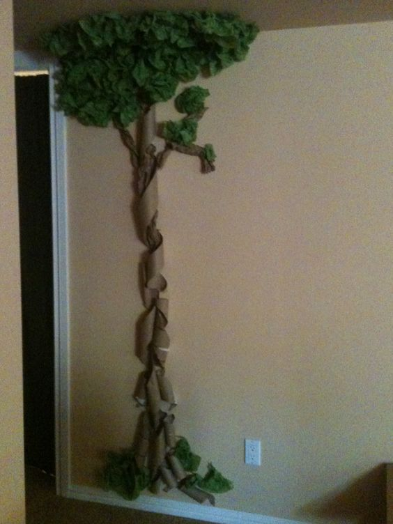 A tree i made out of green tissue paper and toilet paper for How to make a tree out of toilet paper rolls