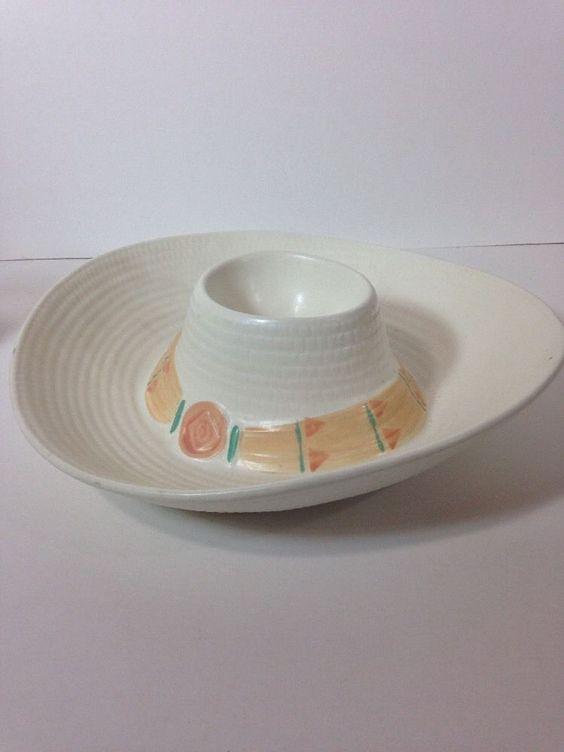 Treasure Craft Taos Sombrero Hat Cream Coral Green Chip DIP Bowl   eBay